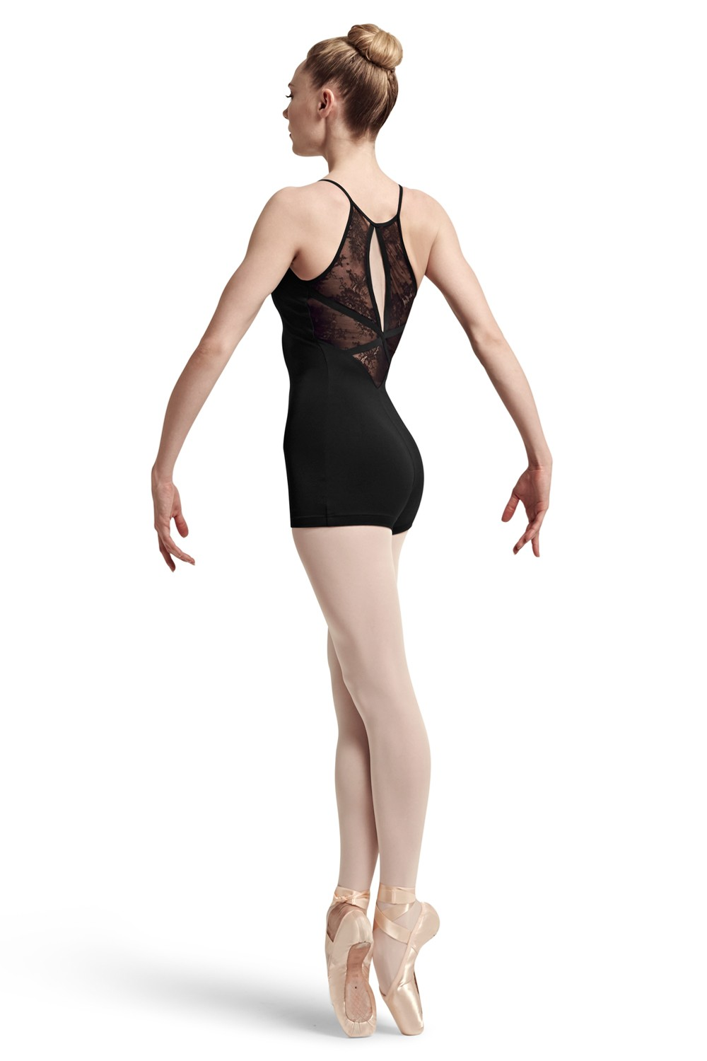 Haim Lace And Ribbon Panelled Back High Front Neck Women's Dance Leotards
