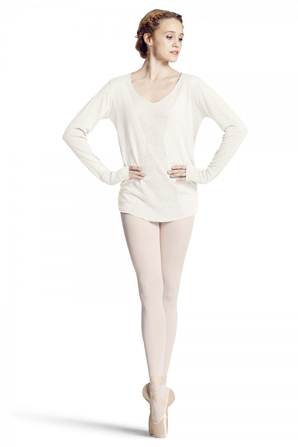 image - Rib Knit Long Sleeve Sweater Women's Dance Tops