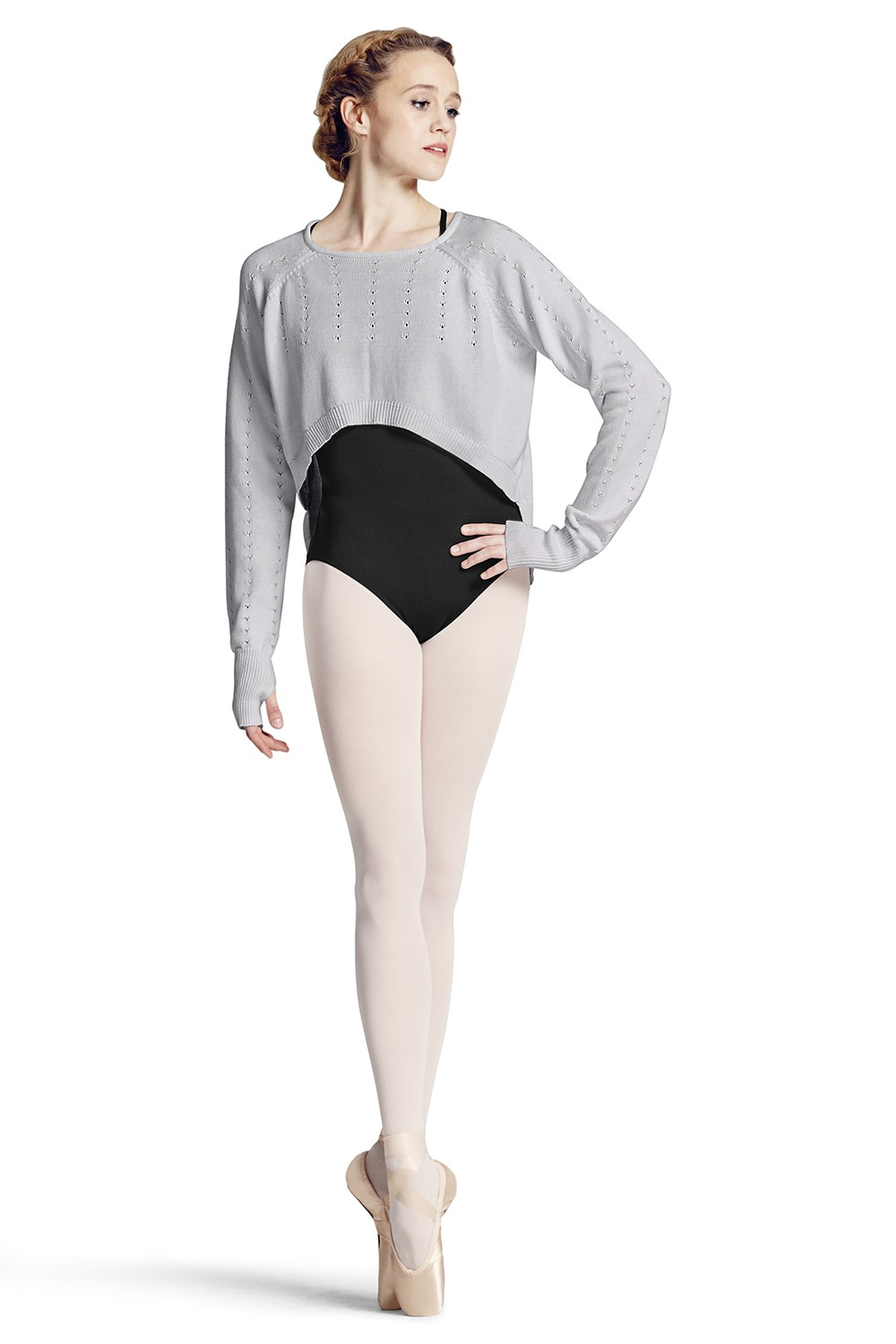 Knit Hi-lo Long Sleeve Sweater Women's Dance Tops