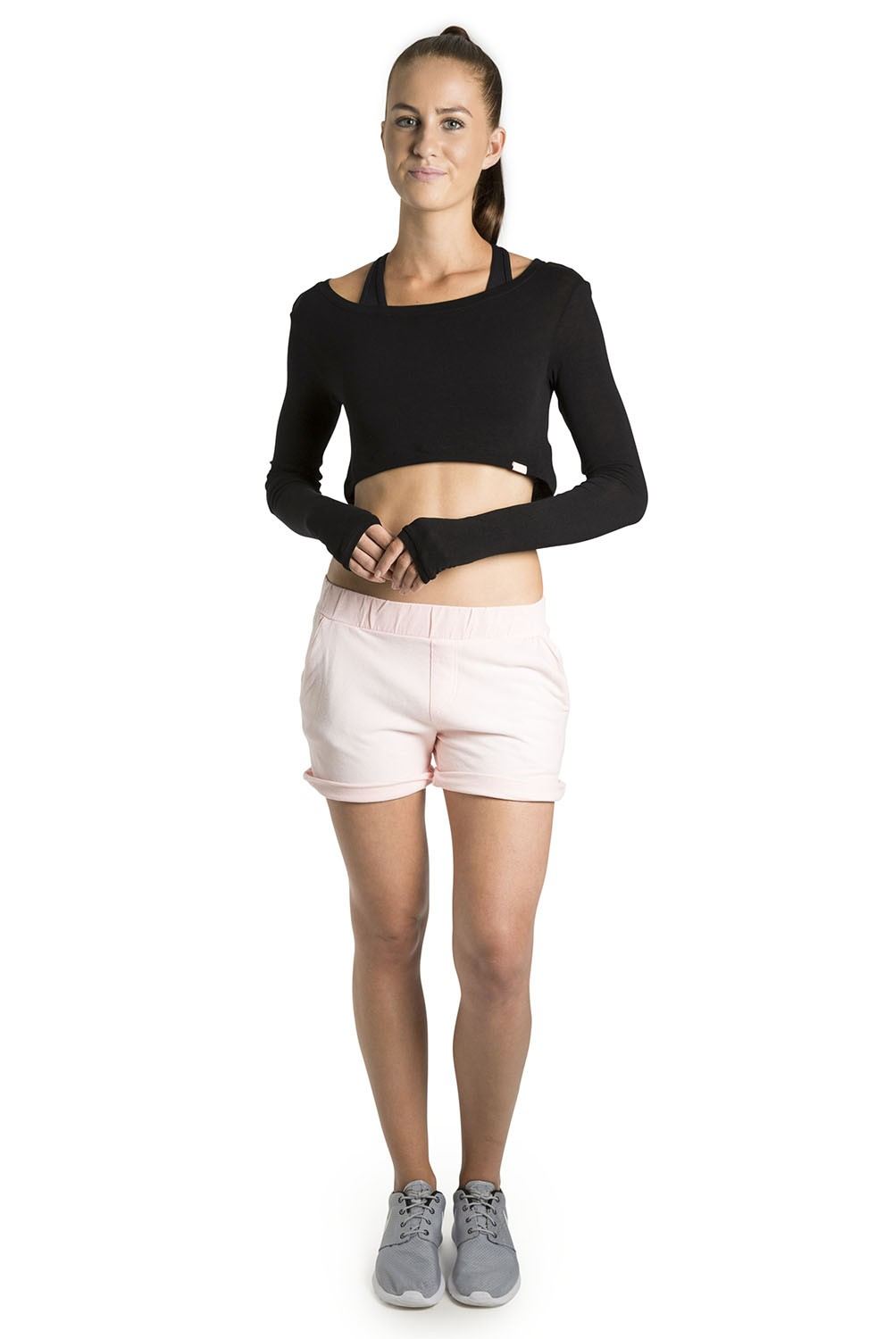 Knit Long Sleeve Crop Top Women's Tops