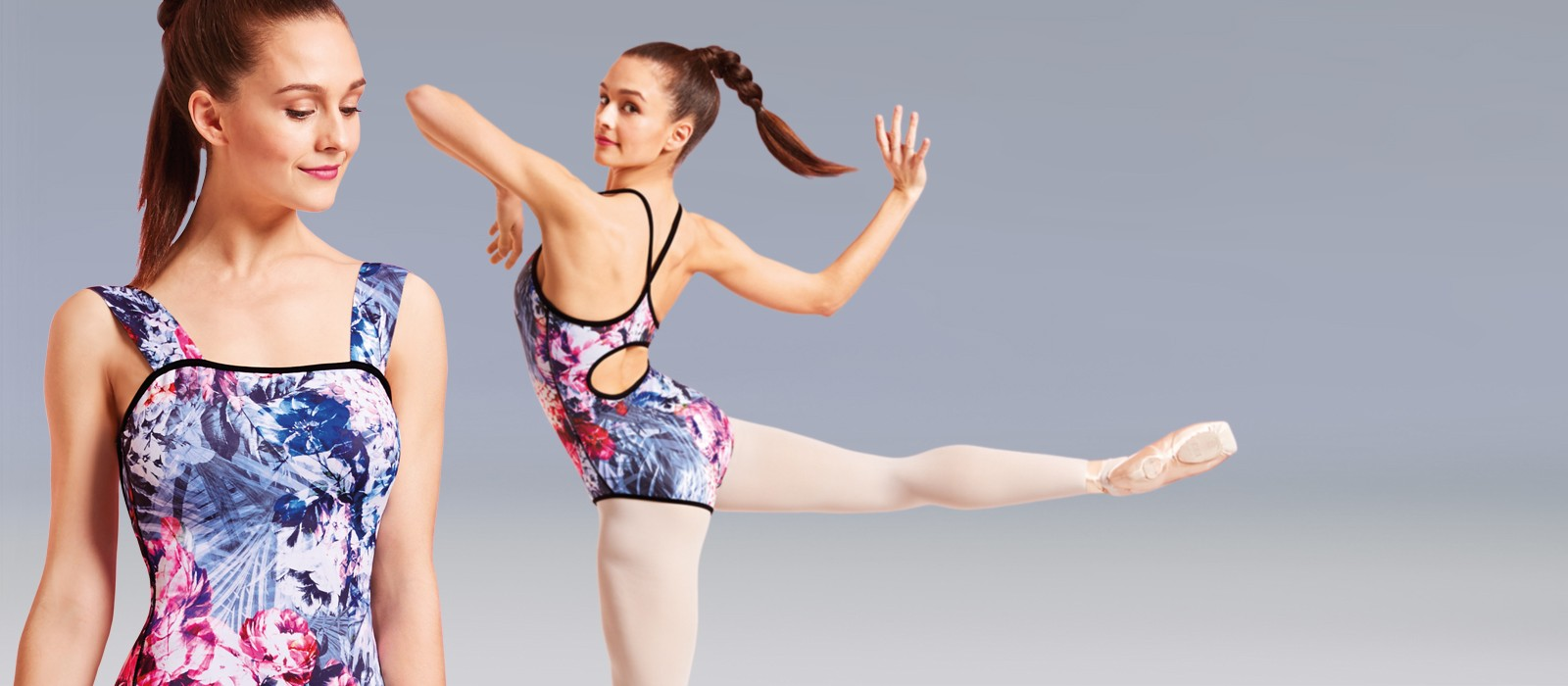 image - Reversible rose & peony printed leotards.