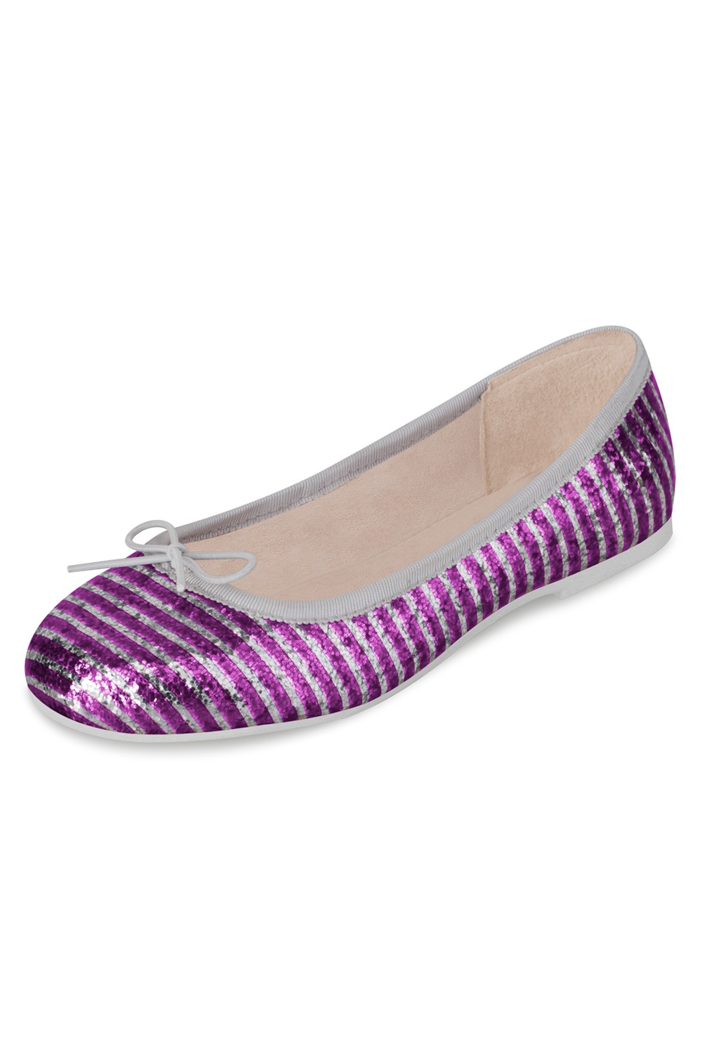 Girls Alexia Glitter Stripe Patent Ballet Flat Sho Girls Fashion Shoes