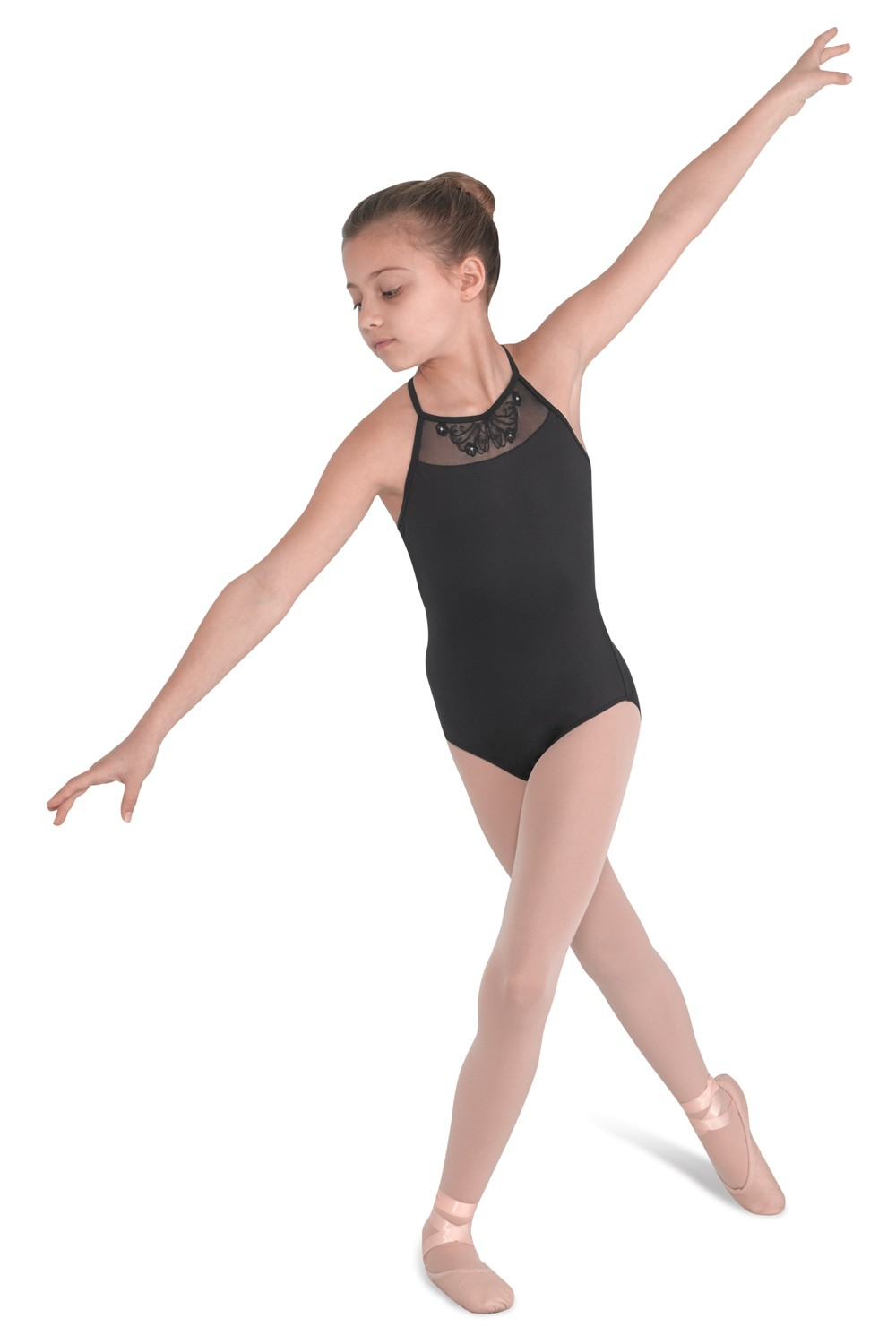 Annia Girls Embroidemesh Front High Neck Leotard Children's Dance Leotards