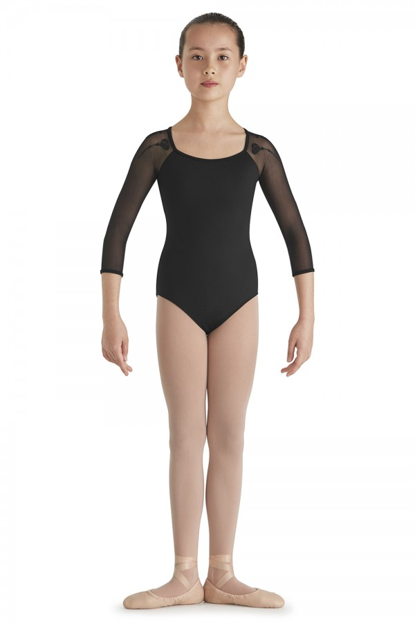 Bloch Girls Heart Embroidered Mesh Back Cap Sleeve Leotard