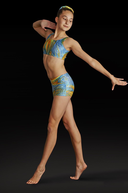 f91ace344e7 Mirage Foil Crop Top Girl's Gymnastics Tops