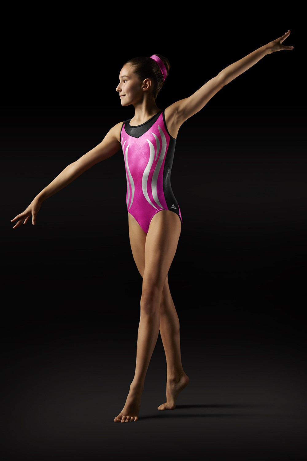 Body Con Spalline Larghe E Motivo A Fiamma Sul Davanti E Sul Retro Girl's Gymnastics Leotards
