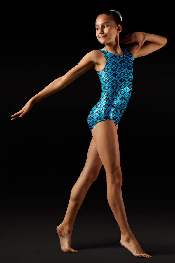 image - Aztec Print Tank Leotard - Girls Girl's Gymnastics Leotards