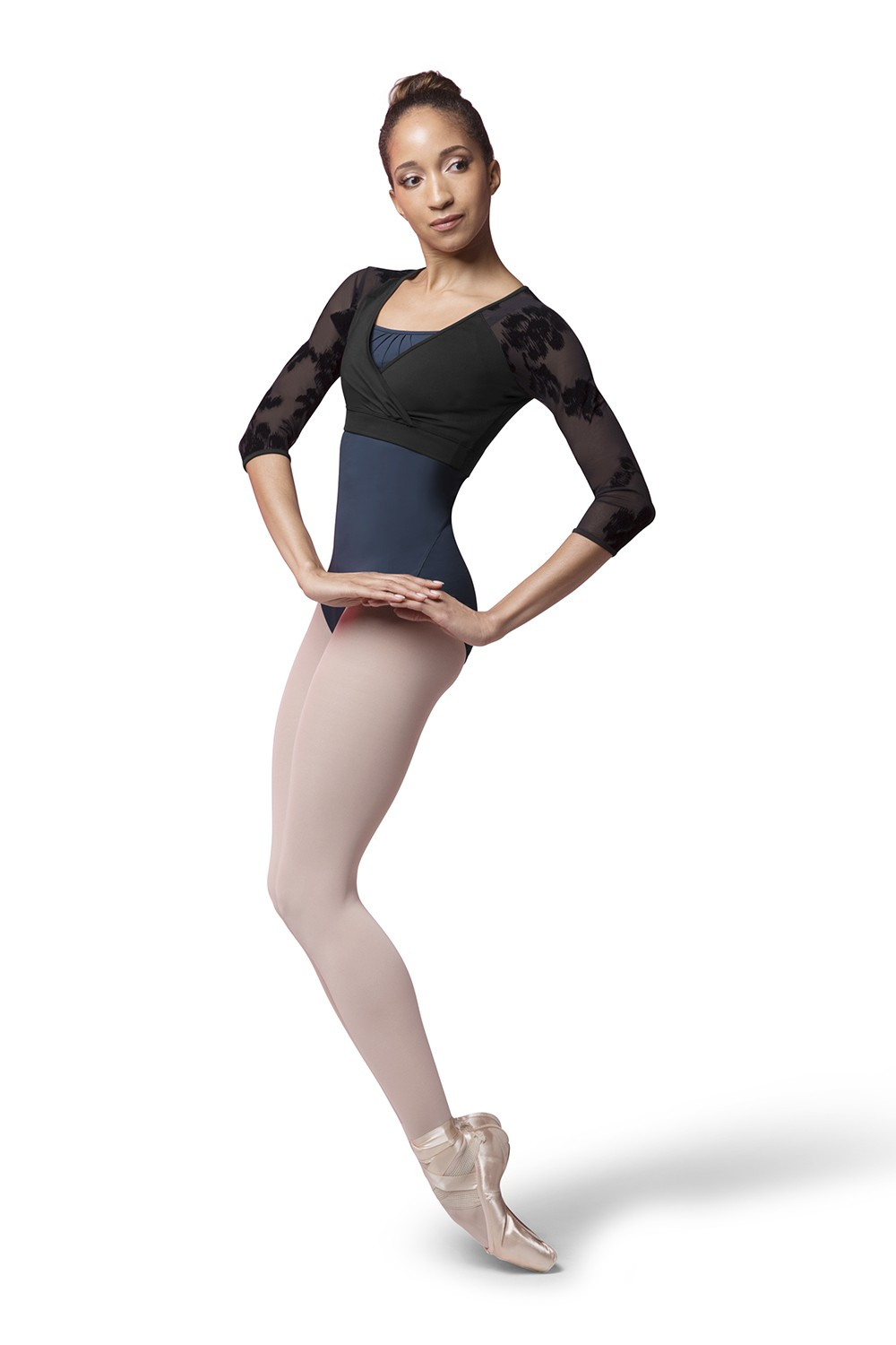 Flocked Mesh Top Women's Dance Tops