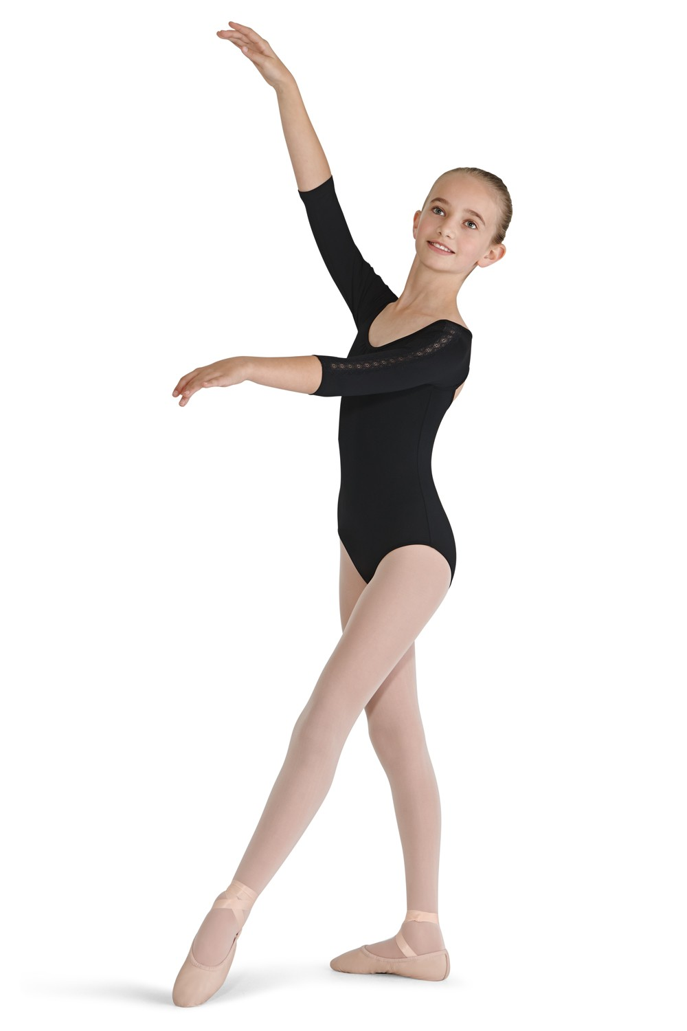 Lace Trim 3/4 Sleeve Children's Dance Leotards