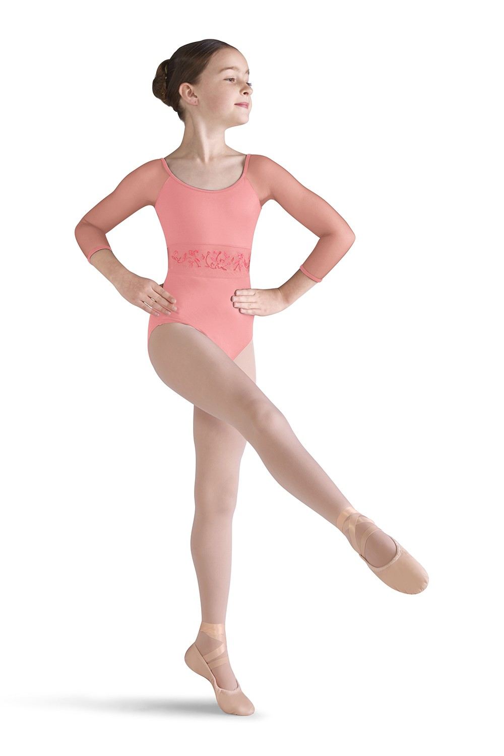 Mesh Waist 3/4 Sleeve Leotard Girls Long Sleeve Leotards