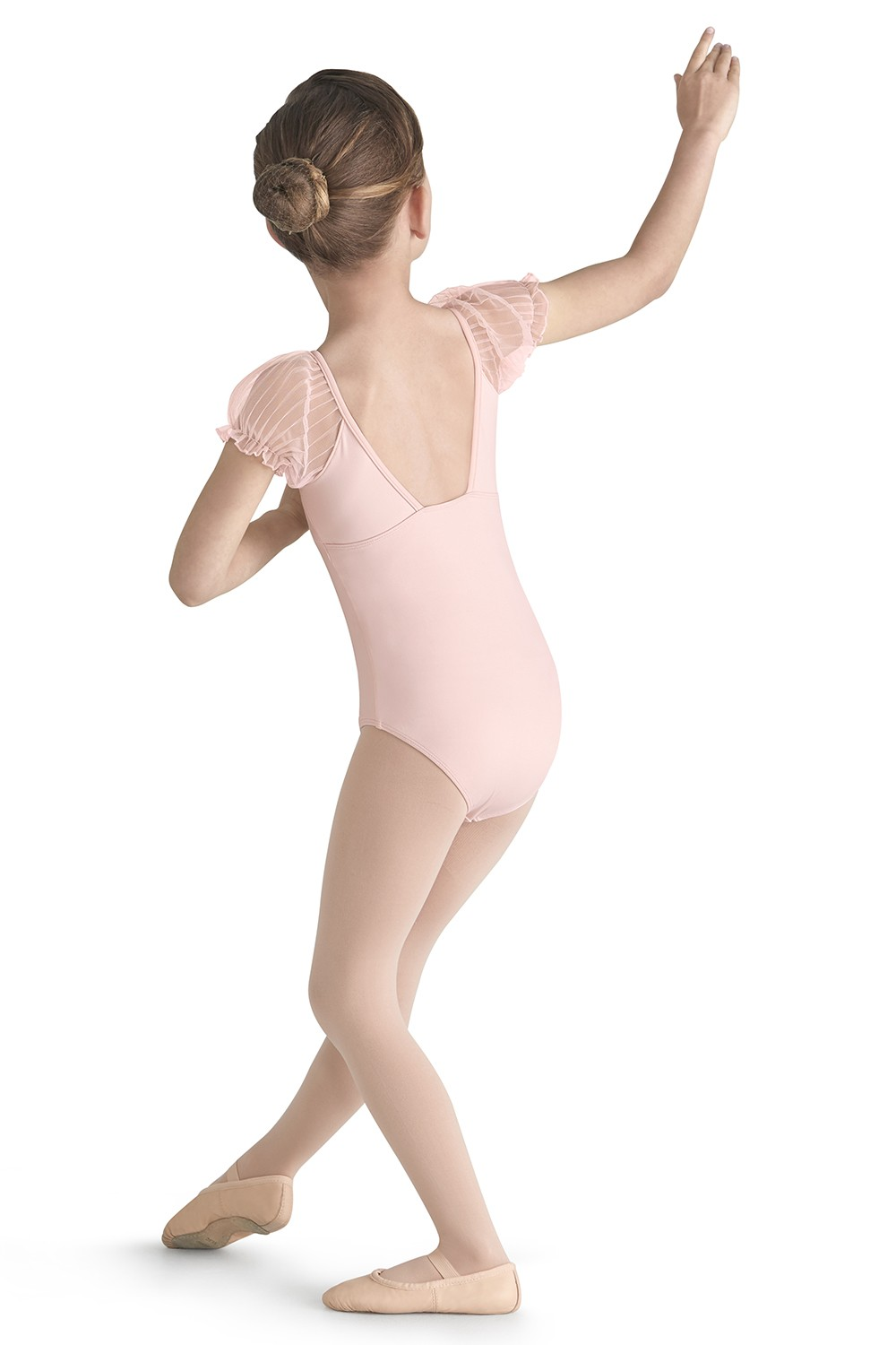 Tulle Puff Sleeve Leotard Girls Short Sleeve Leotards
