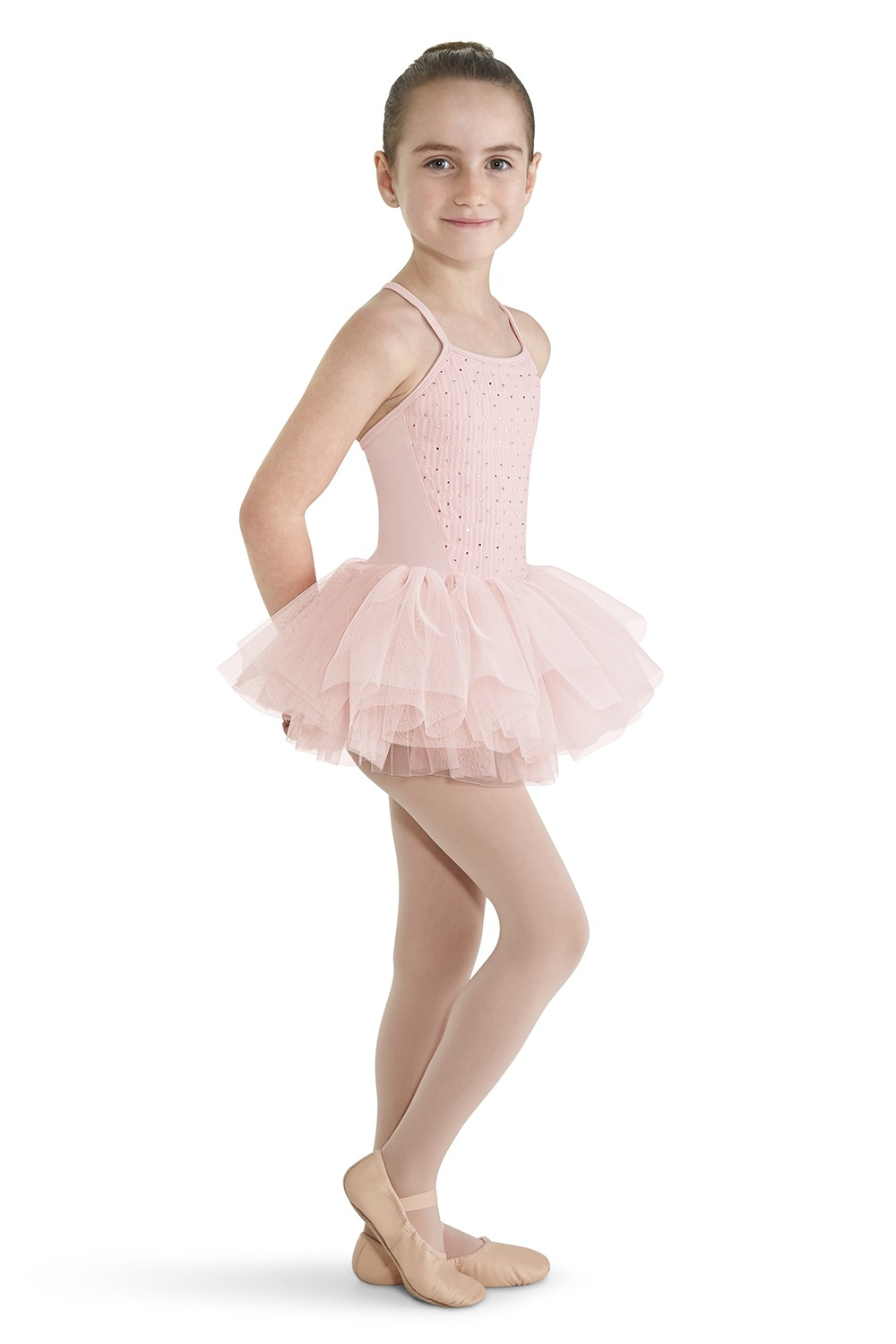 Crinkle Mesh Front Camisole Tutu Children's Dance Leotards