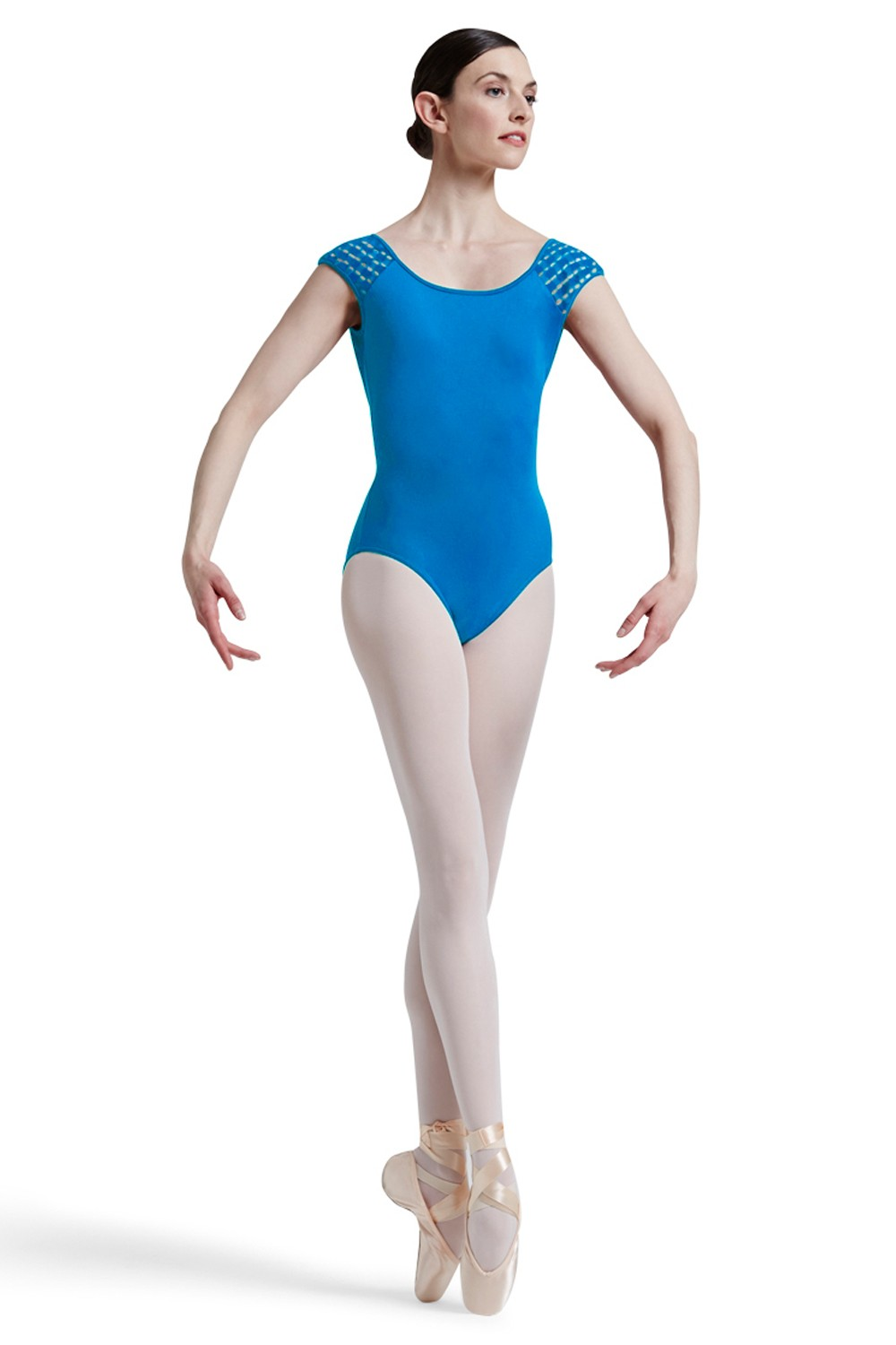 Mirella Square French Lace Deep Vee Back Cap Sleev Women's Dance Leotards