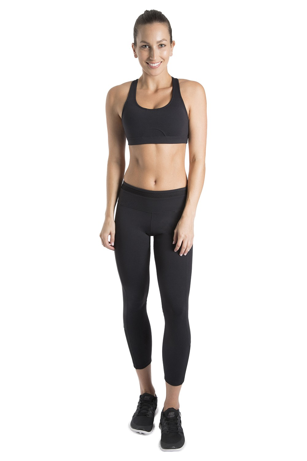 Mesh Trim 7/8 Leggings Women's Bottoms